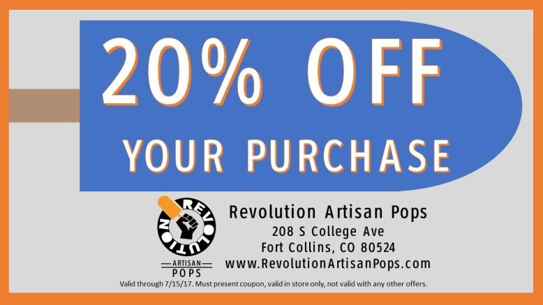 Revolution Artisan Pops coupon Fort Collins popsicles
